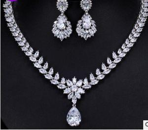 cor branca diamante casamento de cristal colar de pérolas jewerly conjunto ((42cm) earings (4.2cm * 1.8cm) (103)