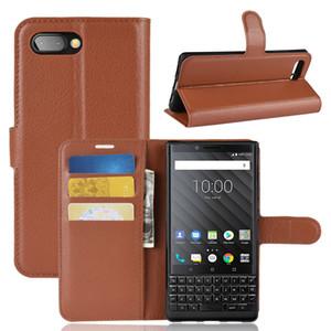 Nouvelles Arrivée Lychee grain portefeuille PU étui en cuir avec support de carte stand Pour Blackberry Key2 Key 2