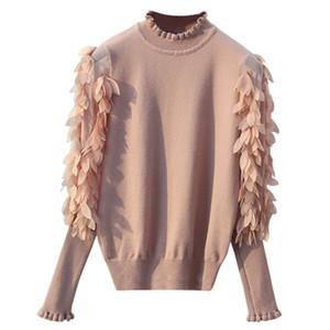 GIGOGOU Раффлед воротник вязаный свитер женщин весна осень свободные перемычка мода цветы рукава свитер и пуловер Femme тянуть D1891903