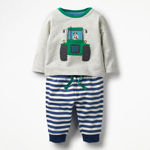 Online Cute Baby Boy Clothing Sets New Arrival Autumn Outfits Long Sleeve T Shirts and Striped Pant Baby 2 Piece Suit 18071804