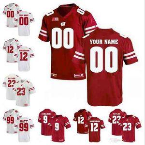 2019 Personalizado NCAA Wisconsin Texugos 16 Russell Wilson 23 Jonathan Taylor 99 J. J Watt 28 Montee Bola Camisas de Futebol S-3XL