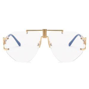 L'oro Rimless Occhiali Donne obiettivo chiaro di marca 2019 degli occhiali oversize Uomini retro metallo obiettivo chiaro occhiali da sole NX