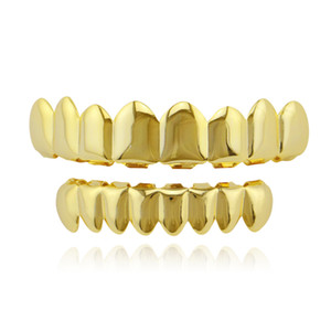 Hip Hop Glossy Copper Dental Grills Eight Teeth Gold-plated Long Braces 2018 Punk Women Men Party Jewelry Grills Set Wholesale Free Shipping