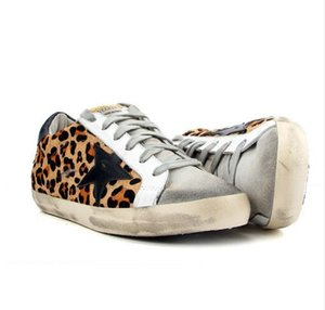 Diseño de las mujeres zapato de leopardo Negro Estrella de cuero genuino Calzado informal de cuero de vaca Lace Up Vintage Do Old Dirty Shoes