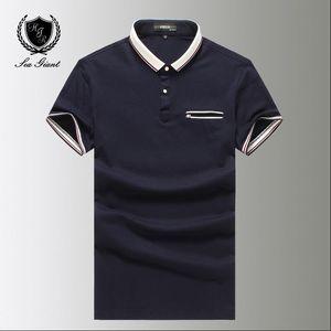 New Man Polo Shirt À Manches Courtes Tomis Couleur Unie Zipper Pocket Turn Down Col Coton Homme Robe Vêtements Polyester Polo Shirts