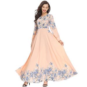 10pcs Mode Adultes Élégantes Femmes Musulmanes Slim Robe Rose Moyen-Orient Abaya Dubai Caftan Islamique Dame Numérique Imprimé Robes Longues Vêtements