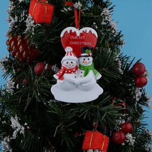 New Design Unser erstes Weihnachten Paar Schneemann Harz Glossy Hang Personalisierte Ornamente Für Liebhaber Geschenke Home Decor