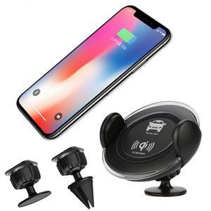Diseño de moda QI Wireless Car Charger Air Vent Phone Mount Holder para iPhone X 8 Plus Samsung Galaxy S7 S8 Edge