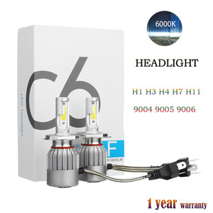 1Pair COB C6 Real 7600LM 120W LED Car Headlight H1 H3 H4 H7 9003 9004 9005 9006 Kit Hi / Lo Lampadine 6000 K
