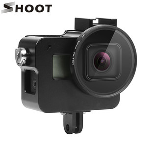 venta al por mayor CNC funda protectora de aleación de aluminio para GoPro HERO 5 cámara negra montaje en jaula con 52 mm lente UV para GoPro Hero 5 accesorio
