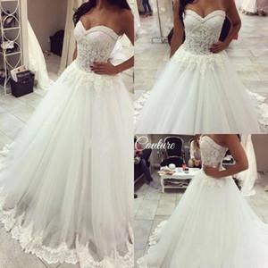 2018 Elegante Blanco Sexy Sweetheart Sin tirantes de una línea de vestidos de novia Perlas Apliques de encaje Vestidos de novia Princesa Tallas grandes Vestidos De Noiva