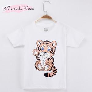 2018 Yeni Çocuk T-shirt Sevimli Küçük Kaplan Kawaii Pamuk Çocuk Gömlek Çocuk Boy Kısa T Gömlek Bebek Giyim Kız Üstleri Tee Gençler Giysileri