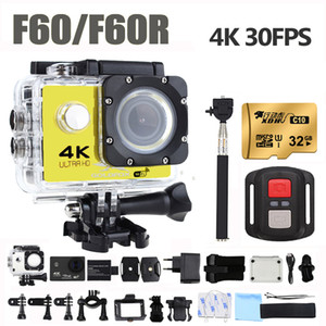 F60 / F60R Action Camera Ultra HD 4K / 30fps 16MP 170D Grand Ange Sport DV Go Sports Waterproof Pro Extreme Vidéo Caméra Casque de vélo