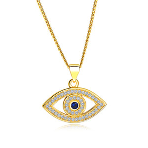 Bleu Evil Eye Collier Celebrity CZ Collier Third Eye Collier anniversaire cadeau- Argent, Or
