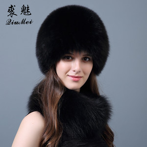 Women's Real Fur Scarf Hat Sets for Rrssian Winter Scarf and Hat 2018 Fur Fashion Natural  and Set Female