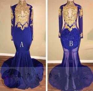 Royal Blue Gold Appliques Mermaid Prom Dresses Lungo 2019 Nuovo Sheer manica lunga Keyhole Prom Dress per Black Girl abiti da sposa