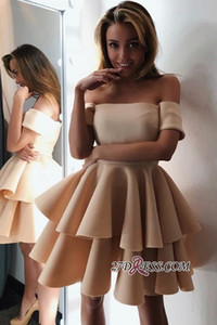 Champagne A Line Homecoming Dresses Strapless Elastic Satin Tiered Ruched Zipper Back Mini Cocktail Dress