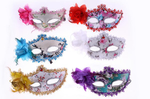 2015 Donne Sexy Hallowmas maschera Veneziana maschere mascherata con fiore piuma Eyeliner e Strass maschera di danza festa in maschera