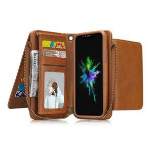 Caso carteira de couro para iphone xs xr x 8 6 s plus multifuncional slot para cartão de dinheiro bolsa destacável slim fit capa protetora case