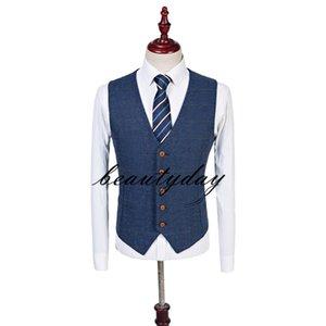 2019 Bristish Wedding Groom Vests Wool Herringbone Tweed Vests Groomsmen Vest Mens Suit Vest Prom Blazers Waistcoat Plus Size Real Image