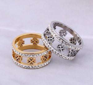 Новый лазерная резка четыре листа клевера ювелирные изделия из нержавеющей стали два ряда круглый бриллиант кольцо серебро/золото