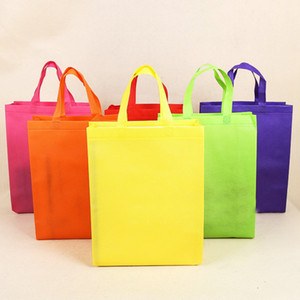 colore caramelle normali non tessuti versione verticale borse borse su misura personalizzati riciclati borse della spesa riutilizzabili stampare il commercio all'ingrosso di disegno.