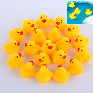 100pcs lot Mini Yellow Rubber Ducks Baby Bath Water Duck Toy Sounds Kids Bath Small Duck Toy Children Swimming Beach Gifts