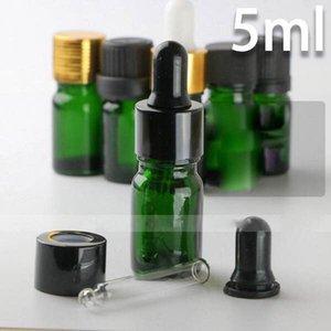 2018 venta caliente 960pcs / lot de vidrio frascos cuentagotas 5ml vacío para Aceites Esenciales, Verde 5 ml E-líquidos botellas de vidrio con gotero al por mayor para eLiquid
