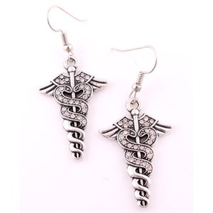 Double Snake Twine Caduceus And Wings Caduceus Studded With Crystal Medic Symbol Pendent Earrings For Women Doctors Nurses Gift