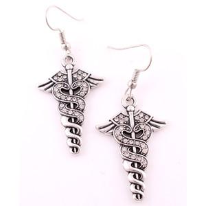 Double Snake Twine Caduceus und Wings Caduceus besetzt mit Crystal Medic Symbol Pendent Ohrringe für Frauen Ärzte Krankenschwestern Geschenk