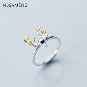 NBSAMENG Réel 925 Sterling Argent Fleur D'or Cerf Ouverture Anneaux Pour Les Femmes Bague Réglable Bijoux Cadeau