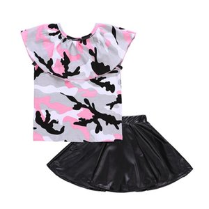Baby Girl Roupas Set Camuflagem T-shirt Blusa + Saia PU Moda Bebê Roupas Gola Menina Set