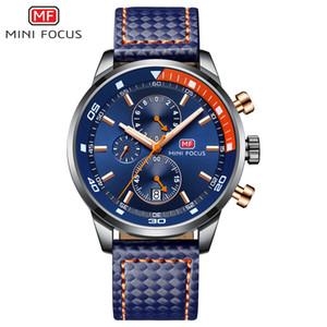 MINIFOCUS para hombre Relojes superior impermeable al agua 24 horas Fecha de reloj de cuarzo de cuero del hombre del reloj del deporte de los hombres del reloj impermeable