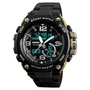 SKMEI 1340 남자 스포츠 디지털 시계 패션 듀얼 디스플레이 석영 손목 시계 50M 방수 야외 남자 시계 Relogio Masculino