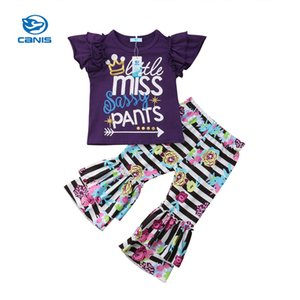 1-6Y Toddler Baby Summer Children's Girls Outfits Kids Girls Casual Letter Print T-shirt Top+Floral Long Bell-bottom Pants Set