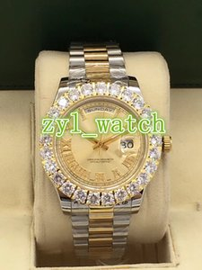 Top Fashion Brand Orologio da uomo con fibbia Diamond Bi-gold Orologio da polso impermeabile in acciaio inossidabile con doppio calendario automatico
