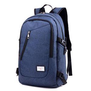 Zaino per laptop impermeabile in poliestere per uomini d'affari con porta USB di ricarica per notebook grande capacità da 17 pollici
