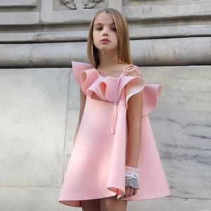 Niño de los bebés de los niños vestido de la manera de la correa del hombro falda de la colmena del vestido del verano camisetas de los tops de Trajes