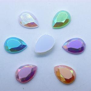 200 unids 10 * 14mm Crystal AB Jelly Color acrílico Rhinestones espalda plana Beads DIY accesorios de prendas de vestir ZZ1