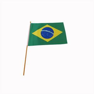 14 * 21 cm Brasil mão agitando bandeira, bandeira da copa do mundo 100 pçs / lote, frete grátis 100% poliéster mão bandeira