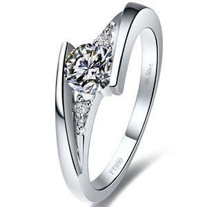 Романтический дизайн мерцание звезд 1 карат синтетический алмаз кольца стерлингового серебра 18K белое золото покрыло кольцо Маунт Semi настройки кольцо бесконечности