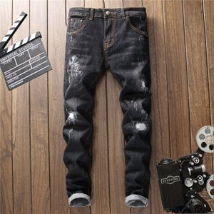 2018 New Summer Spring Fashion Brand Design Distressed Mens Jeans Hight Quality Hole Ripped Embroidery Long Denim Trousers Black