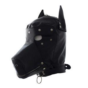 Sexy BDSM Bondage Hook Fetish Lace-up Bocca Dog Mask Giocattoli del sesso Per donna Coppie Restrizioni Giochi per adulti, PU Leather Hood Mask