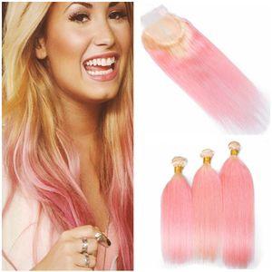 Silky Straight # 613 / Перуанский пакет с человеческими волосами Pink Ombre Сделки с 4x4 кружевным замком