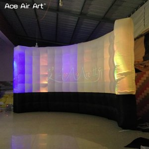 Yüksek kalite yeni şişme photo booth duvar, fotoğraf backdrop, Dj booth ile siyah alt ve beyaz üst, aydınlatma LED ampuller logo duvar