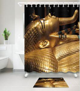 3D 이집트 초상화 인쇄 사용자 정의 방수 욕실 현대 해바라기 샤워 커튼 폴리 에스터 직물 욕실 커튼 도어 매트 세트