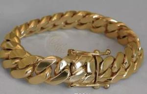 """Bracciale cubano da uomo 14k Gold Miami con cinturino a cubetto da 8 """"pesante 99.7 grammi 14mm"""