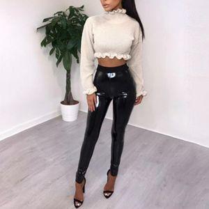 Abbille Nuevo Disco de Cuero Pantalones Mujeres Sexy Señoras Negro Vinilo PVC WetLook Brillante Elástico Cintura Alta Leggings Flacos Pantalones 2018