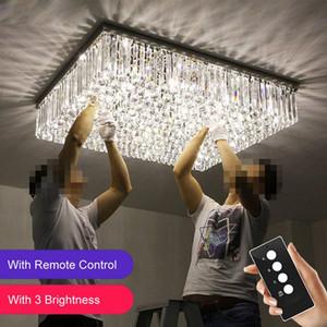 LED 3 Parlaklık Temizle K9 Kristal Dikdörtgen Ayna Paslanmaz çelik Avizeler Tavan sarkıt lambalar yatak odası ışıkları kristal lamba yanar