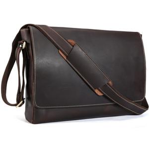 Ручной работы из натуральной кожи 15 дюймовый ноутбук сумка Мужчины Простой Стиль Vintage крест тела плеча портфель Большой Satchel 1153
